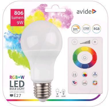 LED izzó E27 9W RGBW  dimmable távírányitóval